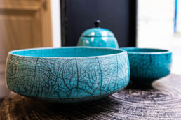 céramique raku bleu metis bordeaux
