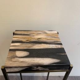 Stèle petite blanc BP - bois pétrifié - fossile