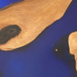 Table bleu noyer résine - modum - ébénisterie