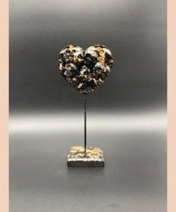 Sculpture coeur noir skulls - VL