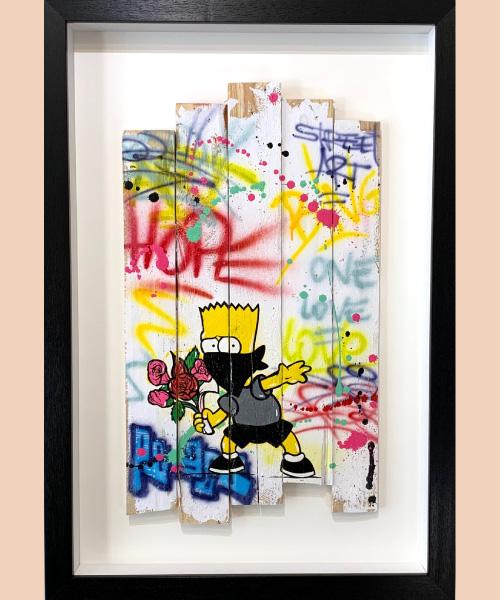 Banksy flower, fat, oeuvre street art 2020