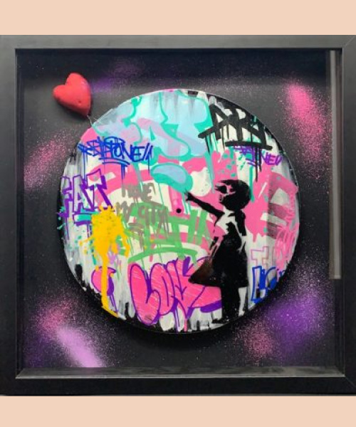 Fat balloon girl - fat - street art - banksy