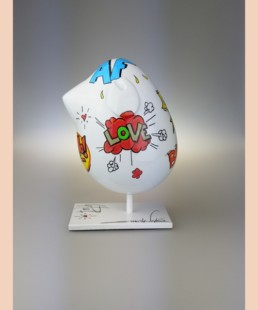 Piaf Pop Art Blanc-valérie marty- unique