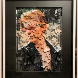 BOWIE silver - David Bowie - papillons - pierre Yves dayot - pièce unique