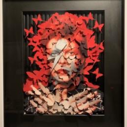 RED BOWIE - David Bowie - papillons - pierre Yves dayot - pièce unique