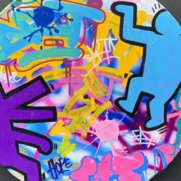 FAT HOPE HARING - street art vinyle - pièce unique - hommage keith haring