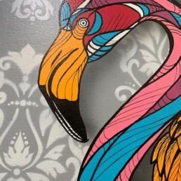 FLAMINGO - caro graffiti art - pièce unique - flamant rose