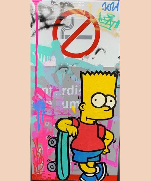 Métro Skate Bart - véritable plaque de métro - plaque émaillée - street art - fat