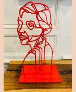 HELL - pascal buclon - sculpture femme rouge