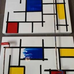 triptyque hommage Mondrian - bernard saint-maxent- oeuvre unique